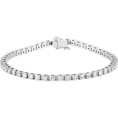 Genuine 14 Karat White Gold 0.50 Carat Diamond Line 7.25