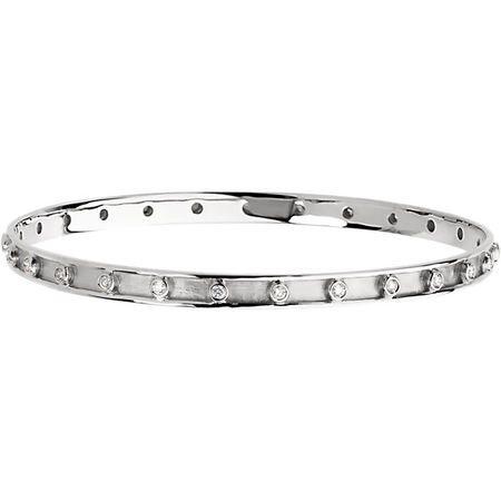 White Diamond Bracelet in 14 Karat White Gold 0.75 Carat Diamond Bangle Bracelet