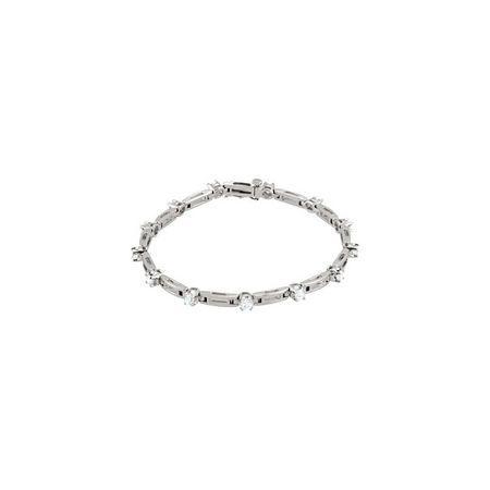 White Diamond Bracelet in 14 Karat White Gold 0.75 Carat Diamond Line 7.25