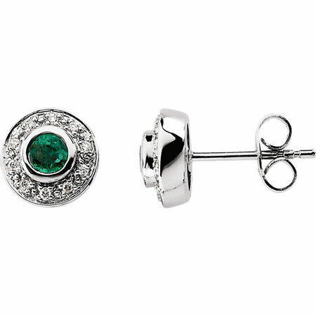 Genuine Emerald Earrings in 14 Karat White Gold 3.5mm Round Emerald & 0.10 Carat Diamond Earrings