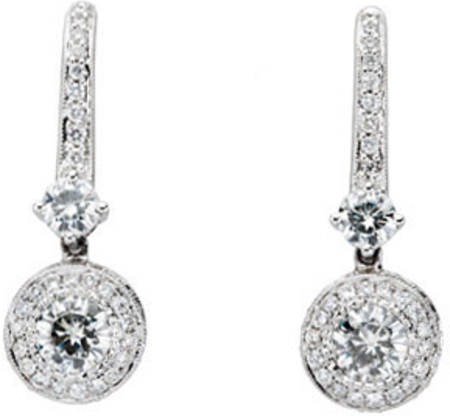 14 KT White Gold 4.5mm Round Forever Classic Moissanite & 1/2 CTW Diamond Halo-Style Earrings