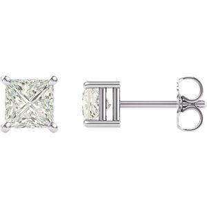 14 KT White Gold 4.5mm Square Forever Brilliant Moissanite Earrings