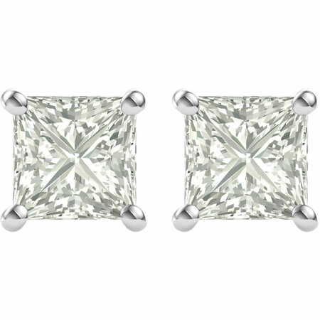 14 KT White Gold 4.5mm Square Forever Classic Moissanite 4-Prong Stud Earrings