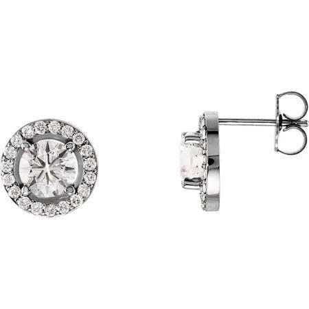 14 KT White Gold 4mm Round Forever Brilliant Moissanite & 1/6 Carat TW Diamond Earrings