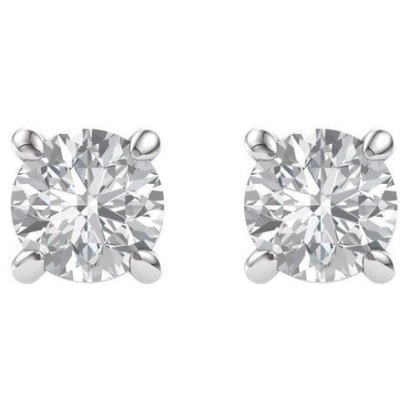 14 KT White Gold 4mm Round Forever Brilliant Moissanite Earrings