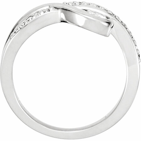 14 KT White Gold 4mm Round Forever Classic Moissanite & 1/8 Carat TW Diamond Right-Hand Ring