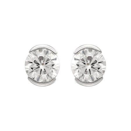 14 KT White Gold 4mm Round Forever Classic Moissanite Earrings