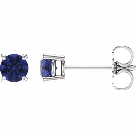 14 Karat White Gold 4mm Round Tanzanite Earrings