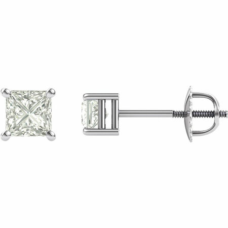 14 KT White Gold 4mm Square Forever Classic Moissanite 4-Prong Stud Earrings