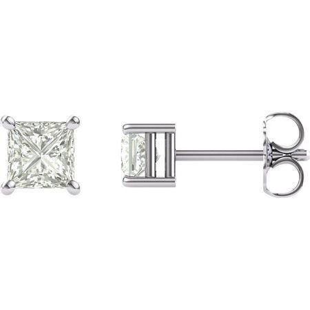 14 KT White Gold 4mm Square Forever Classic Moissanite Earrings