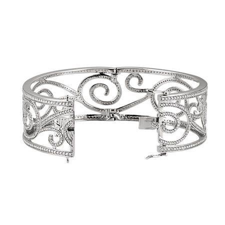14 KT White Gold 5 1/8 CTW Diamond Bangle Bracelet