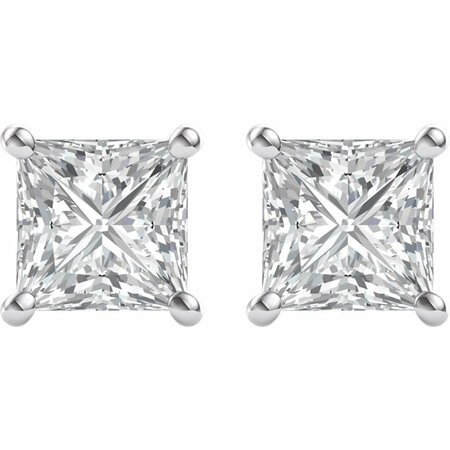 14 KT White Gold 5.5mm Square Forever Brilliant Moissanite 4-Prong Stud Earrings