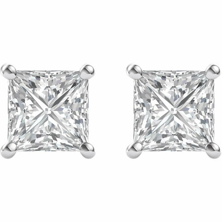 14 KT White Gold 5.5mm Square Forever Brilliant Moissanite Earrings