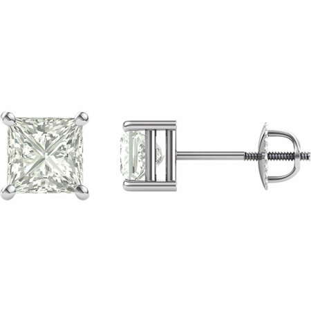 14 KT White Gold 5.5mm Square Forever Classic Moissanite 4-Prong Stud Earrings