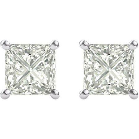 14 KT White Gold 5.5mm Square Forever Classic Moissanite 4-Prong Stud Earrings