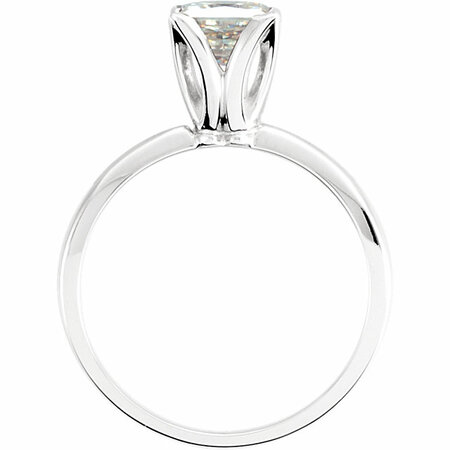 14 KT White Gold 5.5mm Square Forever Classic Moissanite Solitaire Engagement Ring