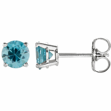 14 Karat White Gold 5mm Round Blue Zircon Earrings