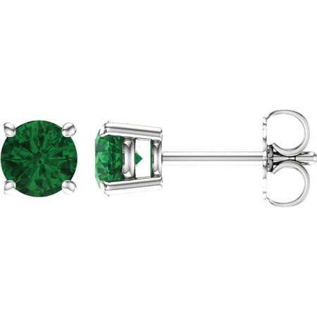 Buy 14 Karat White Gold 5mm Round Emerald Earrings