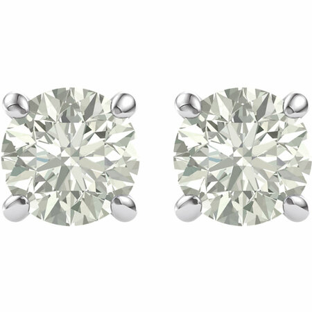 14 KT White Gold 5mm Round Forever Brilliant Moissanite Earrings