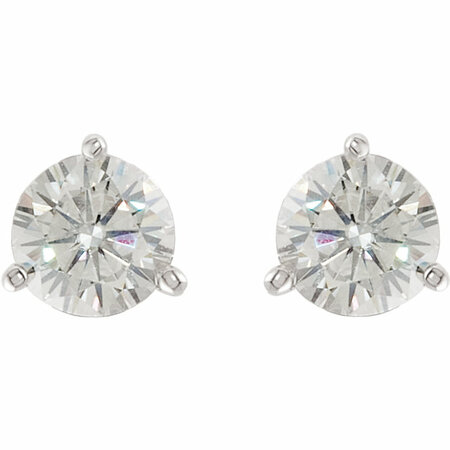 14 KT White Gold 5mm Round Forever Classic Moissanite 3-Prong Stud Earrings