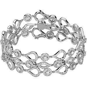 14 KT White Gold 6 1/2 CTW Diamond Bracelet