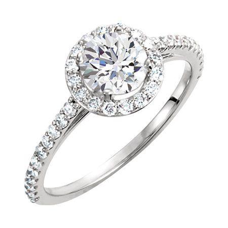 14 KT White Gold 6.5mm Round Forever Brilliant Moissanite & 3/8 Carat TW Diamond Engagement Ring