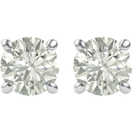 14 KT White Gold 6.5mm Round Forever Brilliant Moissanite Earrings