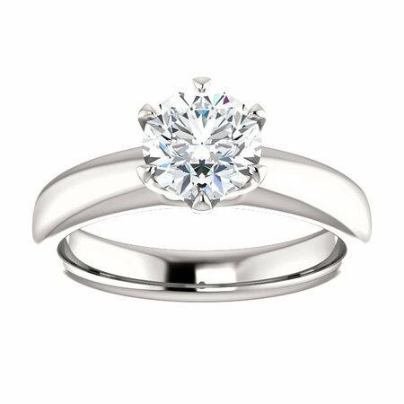14 KT White Gold 6.5mm Round Forever Brilliant Moissanite Solitaire Engagement Ring