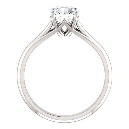 14 KT White Gold 6.5mm Round Forever Brilliant Moissanite Solitaire Engagement Ring