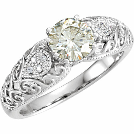 14 KT White Gold 6.5mm Round Forever Classic Moissanite & .05 Carat TW Diamond Engagement Ring