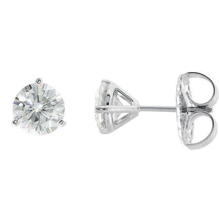 14 KT White Gold 6.5mm Round Forever Classic Moissanite 3-Prong Stud Earrings