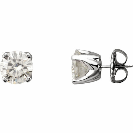 14 KT White Gold 6.5mm Round Forever Classic Moissanite 4-Prong Stud Earrings