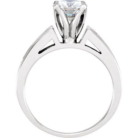 14 KT White Gold 6.5mm Round Forever Classic Moissanite & 5/8 Carat TW Diamond Engagement Ring