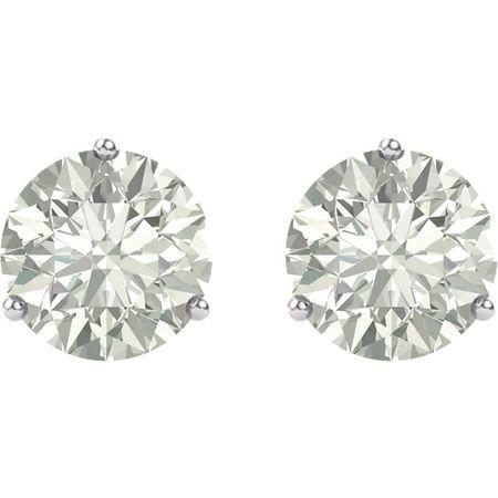 14 KT White Gold 6.5mm Round Forever Classic Moissanite Earrings