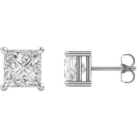 14 KT White Gold 6.5mm Square Forever Brilliant Moissanite Earrings