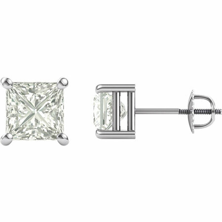 14 KT White Gold 6.5mm Square Forever Classic Moissanite 4-Prong Stud Earrings