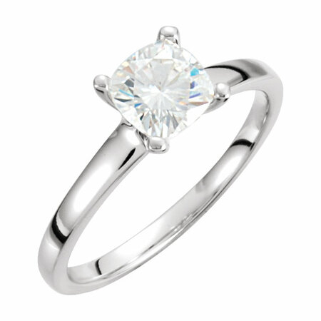 14 KT White Gold 6mm Antique Square Forever Brilliant Moissanite Solitaire Engagement Ring