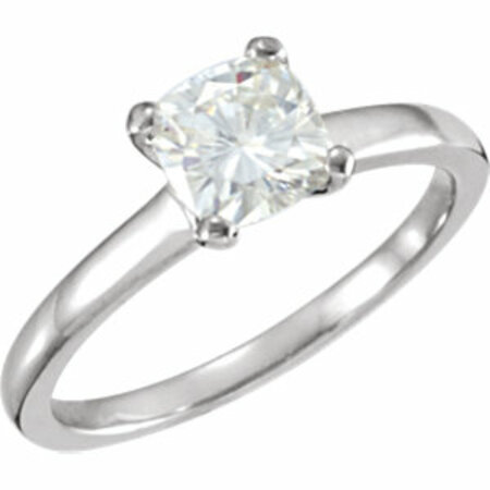 14 KT White Gold 6mm Antique Square Forever Classic Moissanite Solitaire Engagement Ring