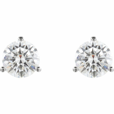 14 KT White Gold 6mm Round 3-Prong Threaded Post Earring Mounting