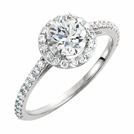 14 KT White Gold 6mm Round Forever Brilliant Moissanite & 3/8 Carat TW Diamond Engagement Ring