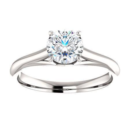 14 KT White Gold 6mm Round Forever Brilliant Moissanite Solitaire Engagement Ring