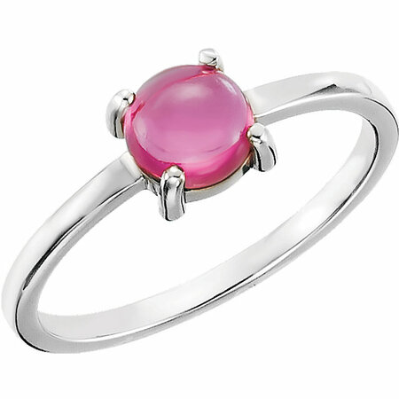 Genuine 14 Karat White Gold 6mm Round Pink Tourmaline Cabochon Ring