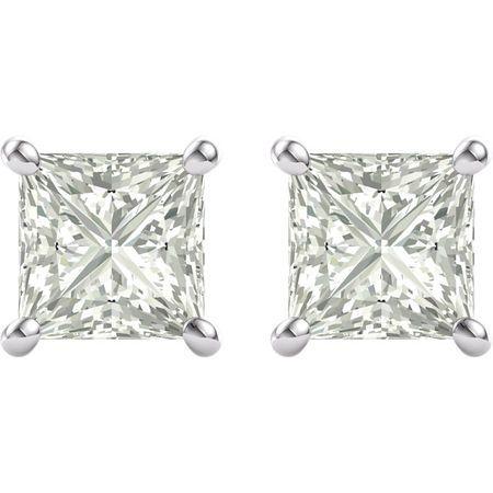 14 KT White Gold 6mm Square Forever Brilliant Moissanite Earrings