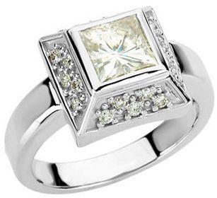 14 KT White Gold 6mm Square Forever Classic Moissanite & 1/3 Carat TW Diamond Ring