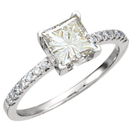 14 KT White Gold 6mm Square Forever Classic Moissanite & 1/6 Carat TW Diamond Ring
