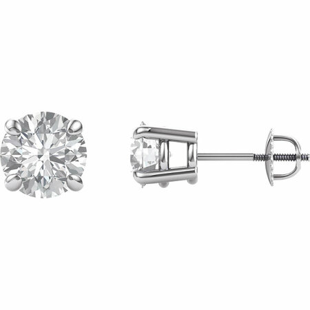 14 KT White Gold 7.5mm Round Forever Brilliant Moissanite Earrings