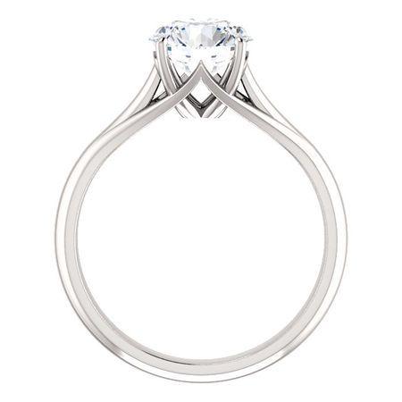 14 KT White Gold 7.5mm Round Forever Brilliant Moissanite Solitaire Engagement Ring