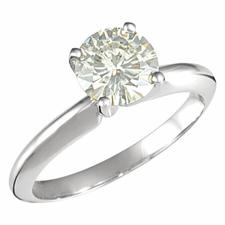 14 KT White Gold 7.5mm Round Forever Classic Moissanite Solitaire Engagement Ring