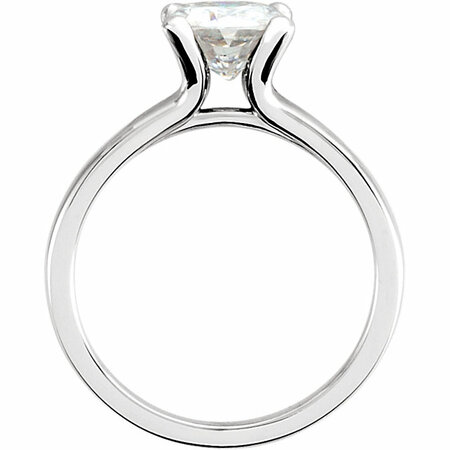 14 KT White Gold 7mm Antique Square Forever Classic Moissanite Solitaire Engagement Ring