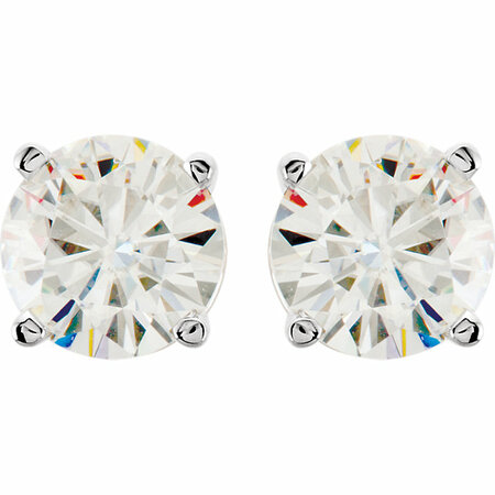 14 KT White Gold 7mm Round Forever Brilliant Moissanite Earrings